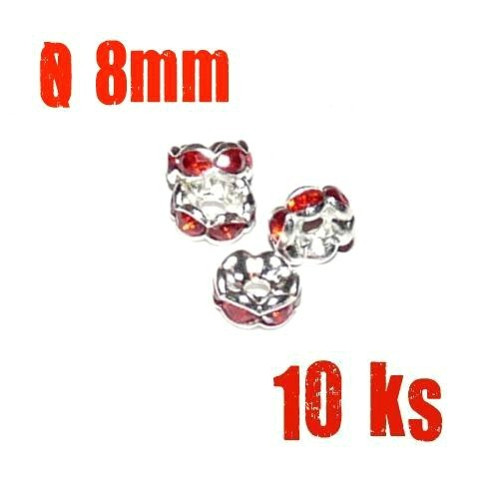 Rondelka-kaplík  stříbrná & červená, 8 mm, 10 ks