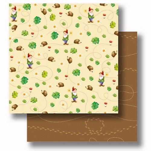 Oboustranný papír - Trpaslíci a čtyřlístky