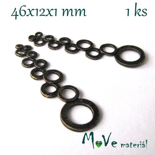 Přívěsek kruhy 46x12x1mm, 1ks, staromosaz