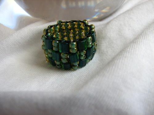 Prstýnek z korálků - zelený