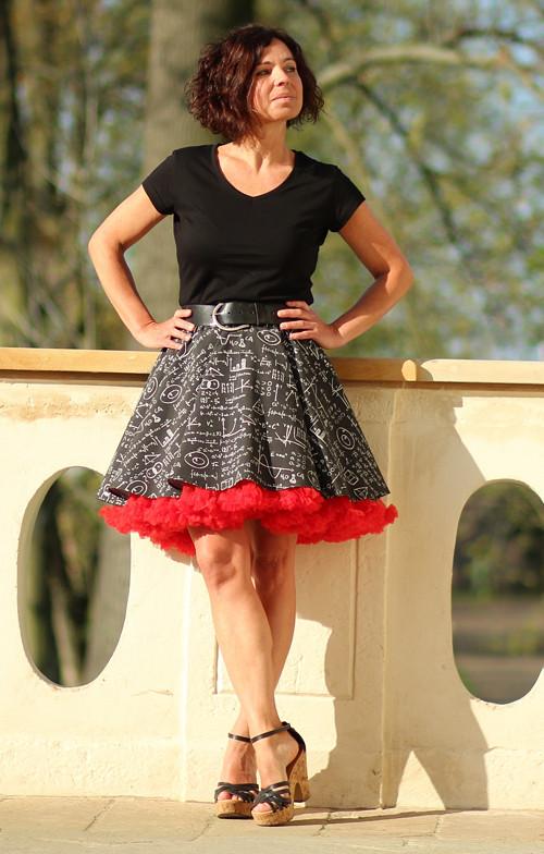 FuFu sukně vzor tabule + červená spodnička