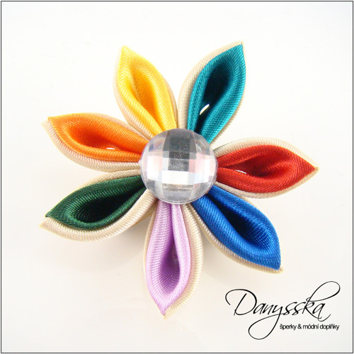 Saténová květina - brož 230