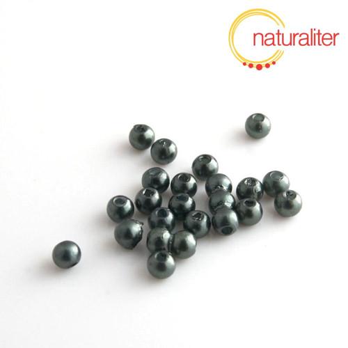 Voskované perly,šedočerné, 4mm, 100ks