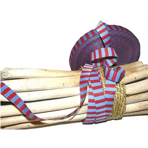 Tkaná stuha červeno-modré proužky
