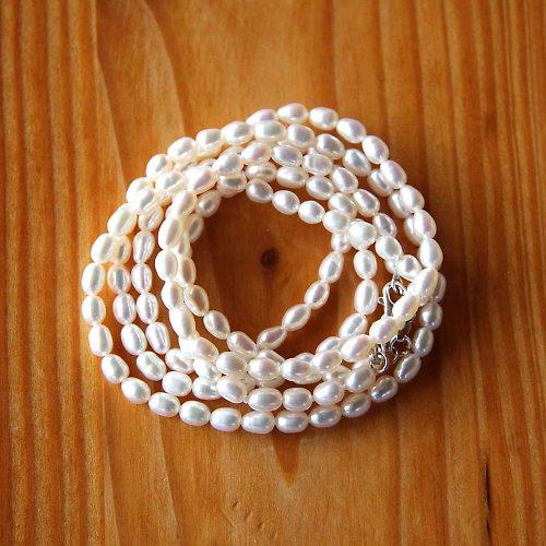 Říční Perlička 5mm - 2ks - Bílá