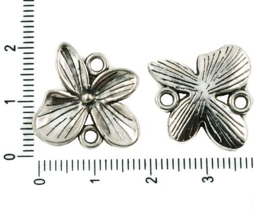 4ks Starožitné Stříbro Tón Velký Květ, Květinový,