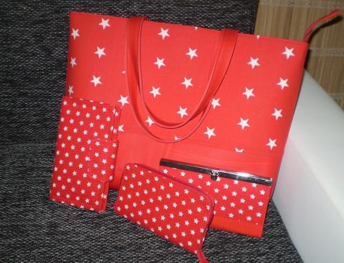 Dámský set, kabelka+rámečková peněženka+2 pouzdra