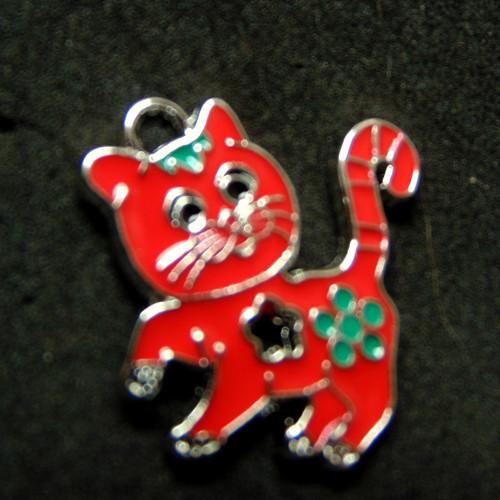 Přívěsek - kočka s kytkou, červená