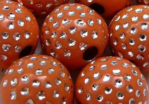 Plastové kuličky s tečkami 10 mm - oranžová / 4 ks