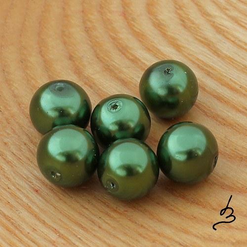 Voskové perle zelené TM 12 mm - 6 ks