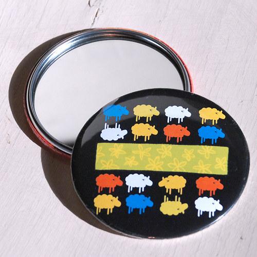 Zrcátko Ovečky černé (75 mm) s pytlíčkem