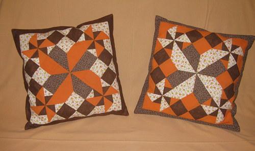 Polštář patchworkový - oranžovo hnědé větrníky