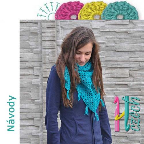 Háčkovaný šátek zelený