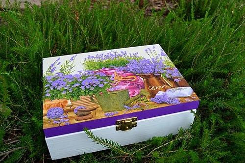 Krabička na čaj - 6 přihrádek - levandule