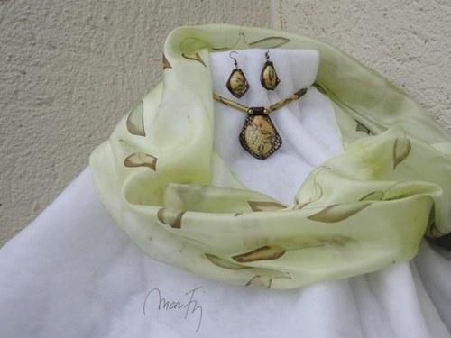 Lístky tabáku Hedvábná šála + náušnice+náhrdelník