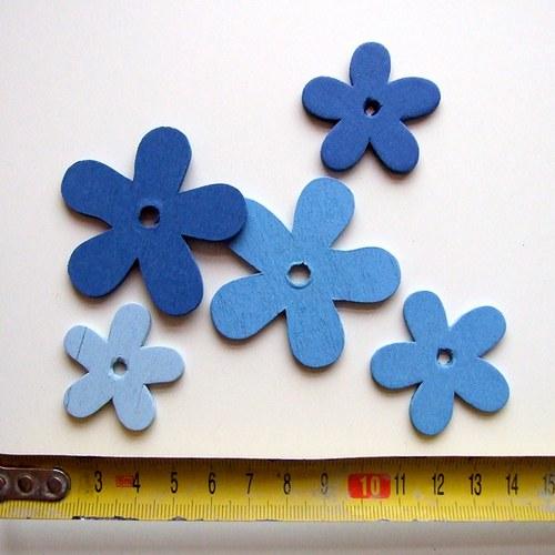 Dřevěné kytičky modré - cena za 5 ks