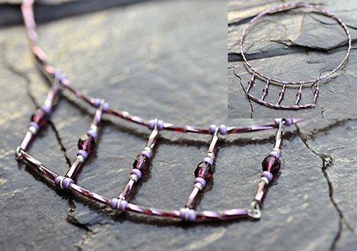 Fialový náhrdelník - kamínky N0020V