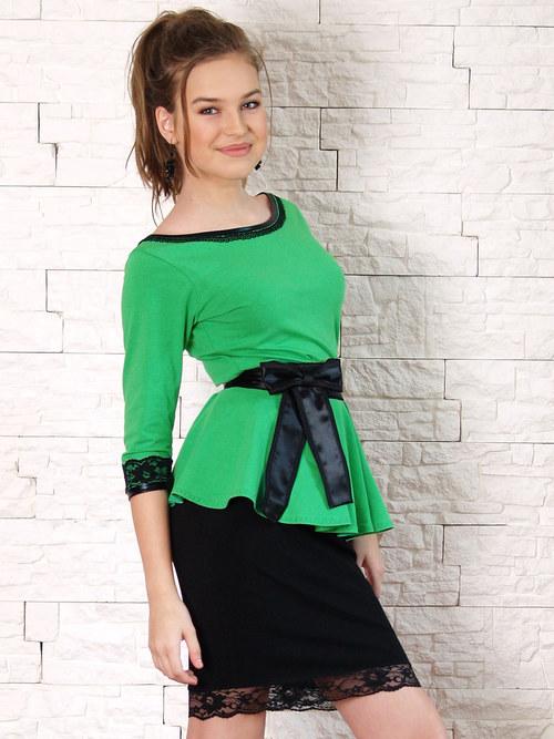 Společenský komplet s páskem černo-zelený