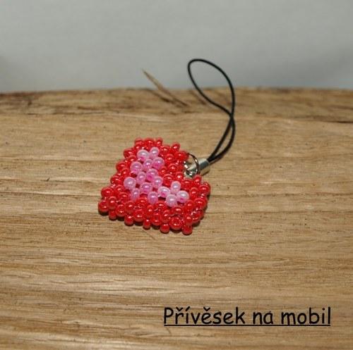 Přívěsek na mobil Red/Rose Heart