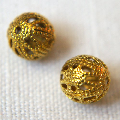 Filigránové kuličky 6mm zlaté 10ks sleva z 22,-