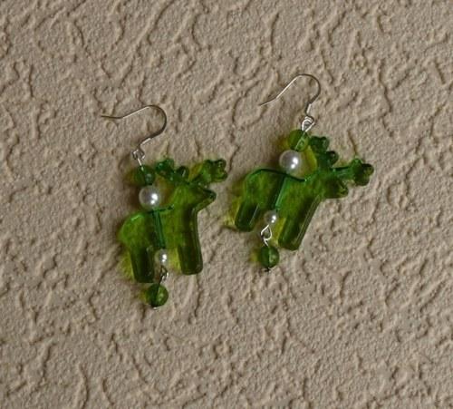 vánoční  náušnice - SOB zelený s korálky