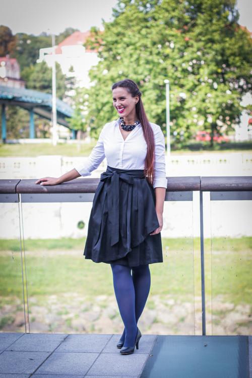 Zavinovací sukně ANJA, černá, pro pas 74-82 cm