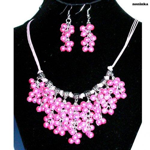 Růžový bohatý náhrdelník a náušnice - VÝPRODEJ