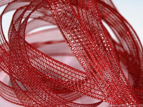 Stuha síťovaná š.10mm červená