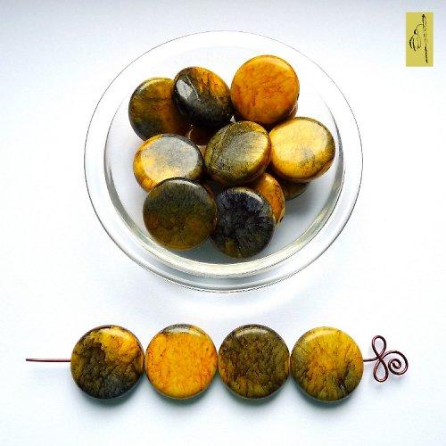 Mramor. placička žluto-zelená, 25 mm, 2 ks, sleva