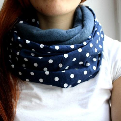 Nákrčník modrý s puntíky :) fleece