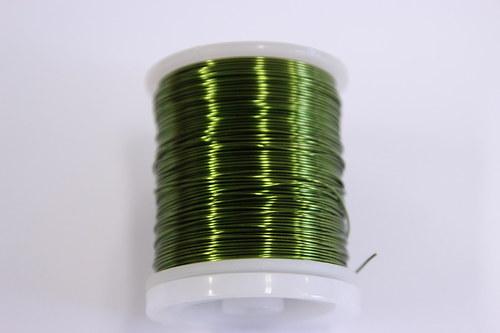 Měděný drátek 0,8mm - khaki, návin 8,5-9m