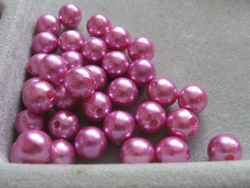 Voskové korálky - růžová 8 mm / 25 ks