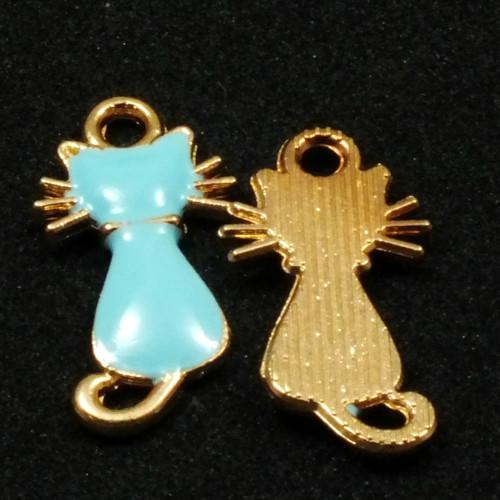 Přívěsek - kočka sedící zlatě lemovaná modrá,1ks