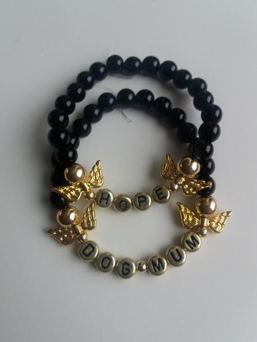 Náramek andělská křídla černý