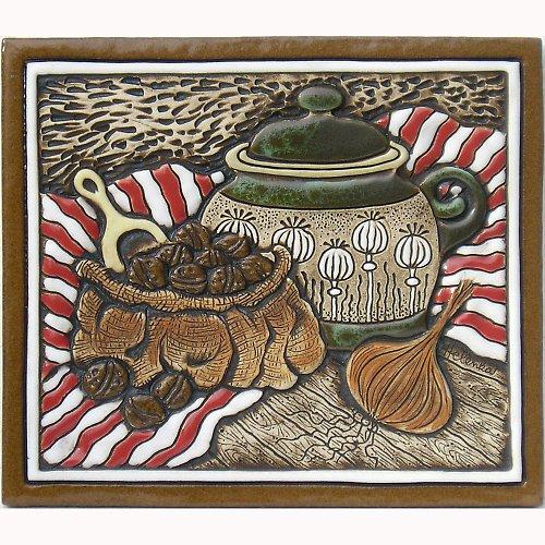 Keramický obrázek - Hrnek, ořechy, cibule K-118-CE