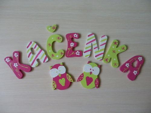 Dřevěné písmenka + dekorace Sovičky