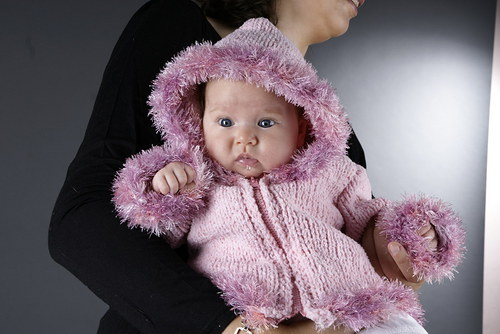 Popis - návod na pletený baby kabátek Eskimo Girl