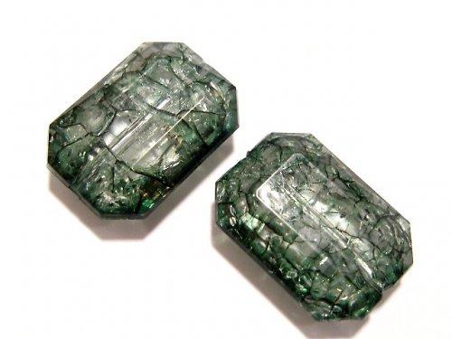 0801628/Obdélník craklovaný zelený, 3 ks