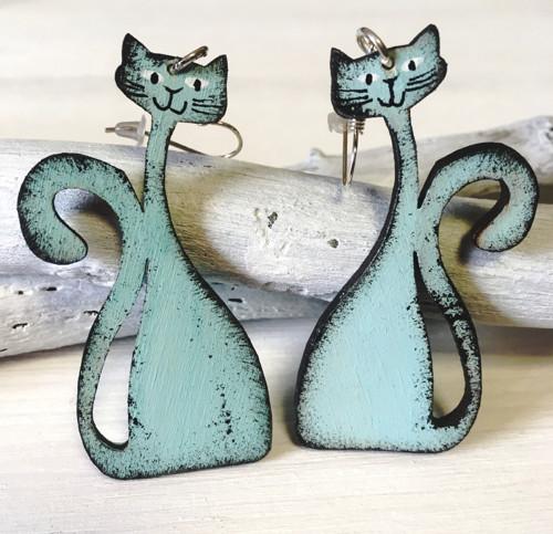 Dřevěné náušnice - Kočičky