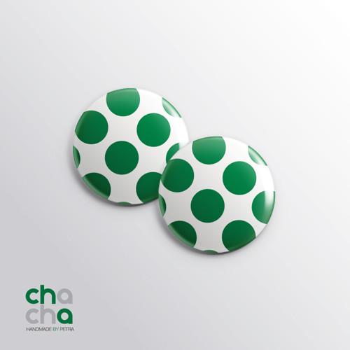Puntíkaté retro náušnice - zelené