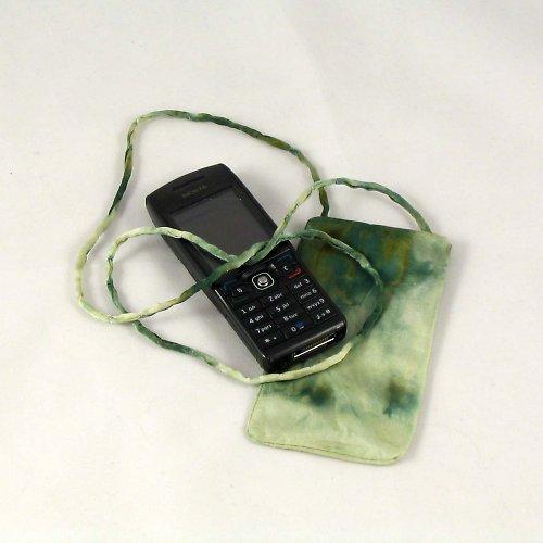 Hedvábné pouzdro na mobil khaki zelené
