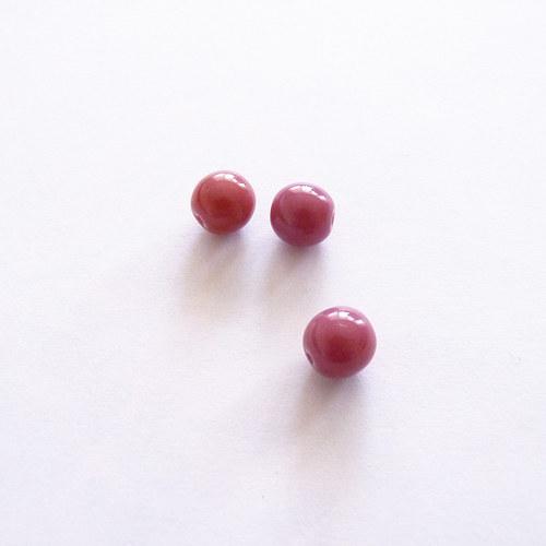 Růžové kuličky tmavé 3 ks