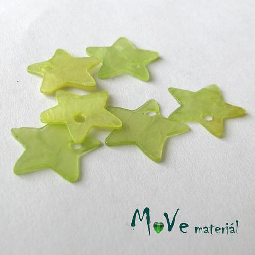 Perleťové penízky hvězdičky 13mm, 6ks, sv. zelená