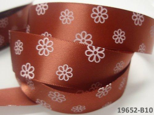 19652-B10 Stuha 22mm s květy HNĚDÁ, svazek 2m