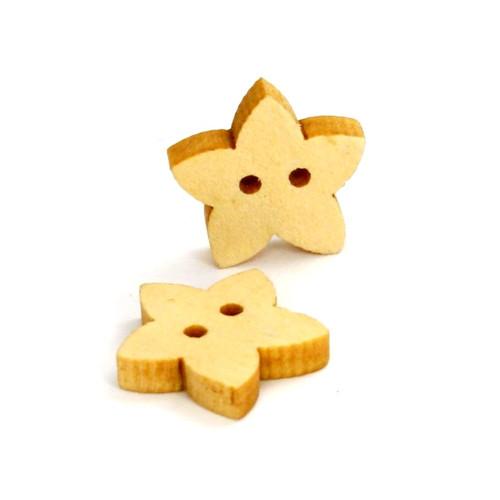 Dřevěné knoflíčky - hvězdičky,žluté, 2 ks,