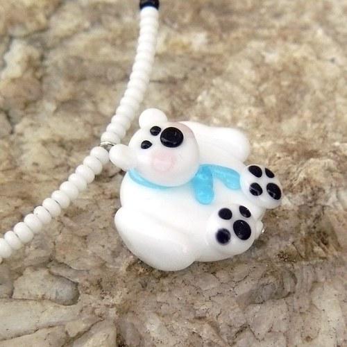 Lední medvěd - placka - vinutá perle