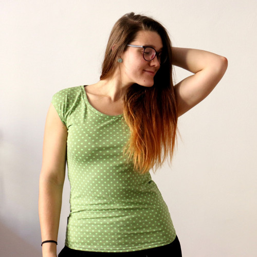 Tričko hravé, puntíky - khaki :) L
