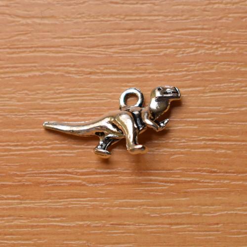 Dinosaurus -  starostříbro - 22mm x 12mm - 2 kusy