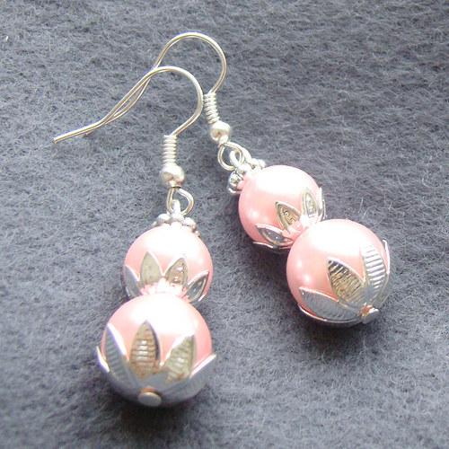 náušnice růžové perličky v leknínech
