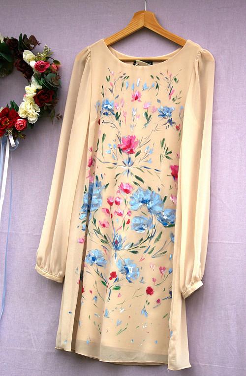"""Ručne maľované bledučkobéžové šaty \""""Florence\"""""""